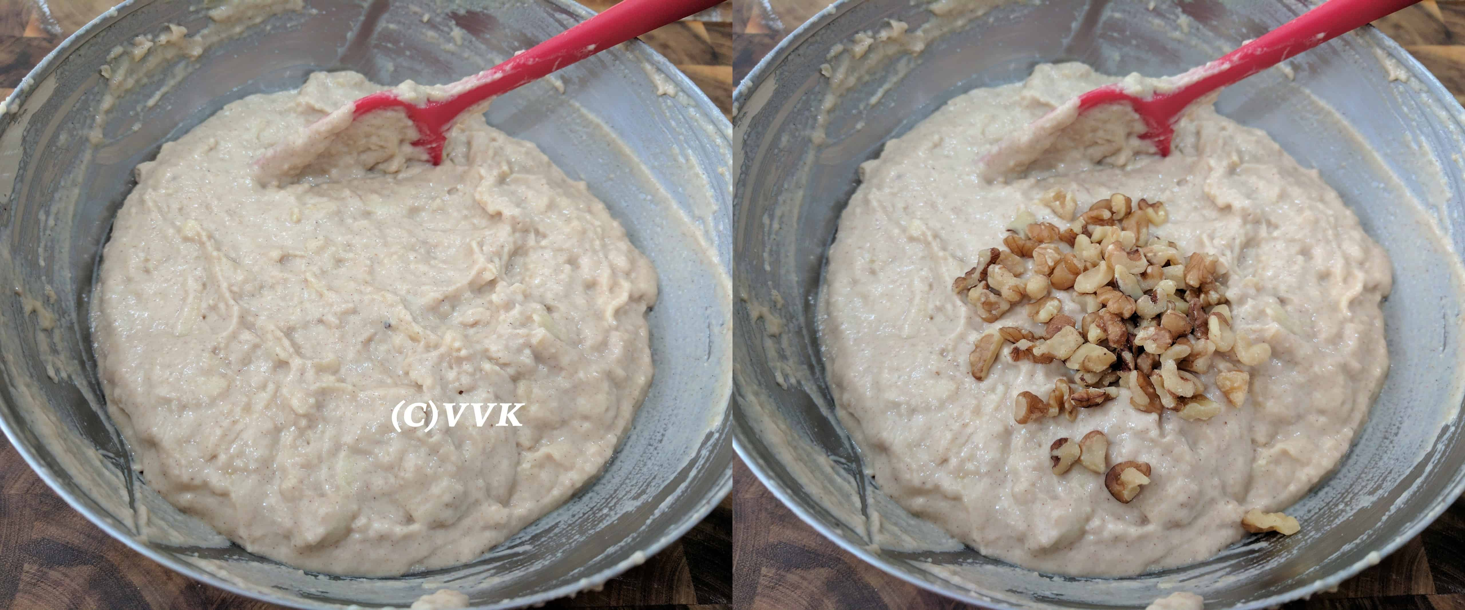 Mixing dry and wet ingredients and folding in the walnuts.
