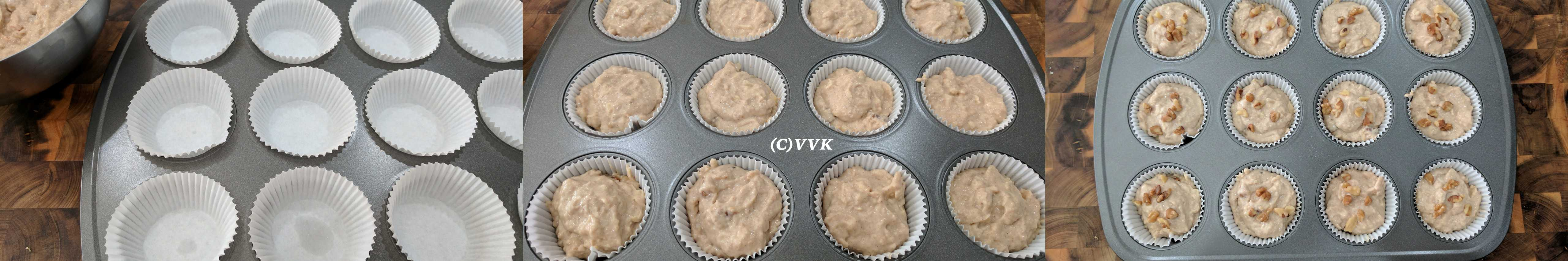Dividing the batter into the muffin tin and adding more nuts on top.
