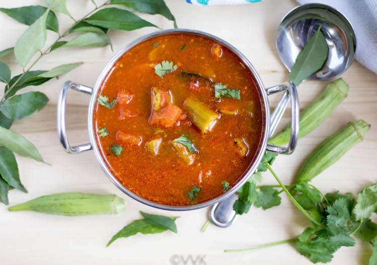 Bendakaya Pulusu or Tangy and Spicy Okra Gravy