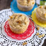 Closeup on the delicious Eggless Apple Walnut Muffins looking yummy and perfect for breakfast