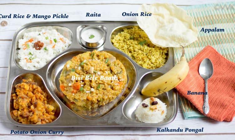 Saravana Bhavan Style Executive Thali with each dish titled