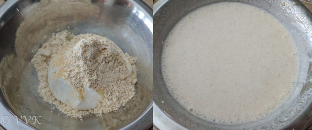 ixing the yogurt and besan with one cup of water and whisking well