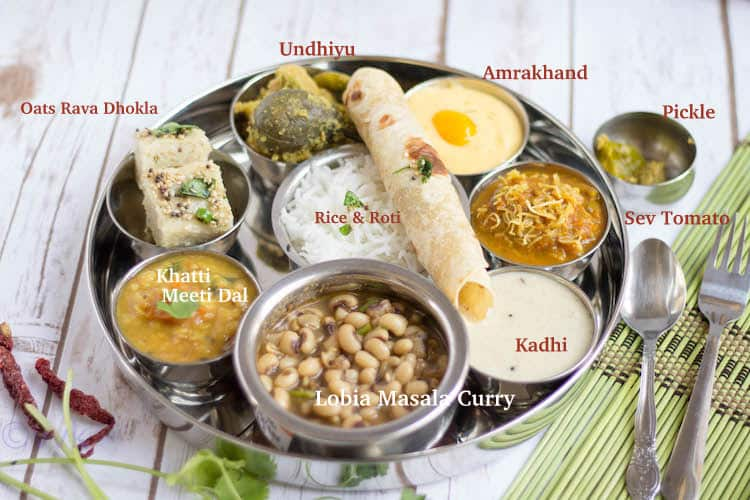 Gujarati Thali tray with each dish named