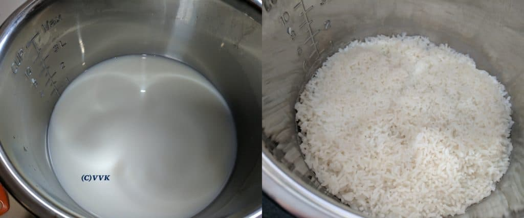 Adding washed rice and two cups of water