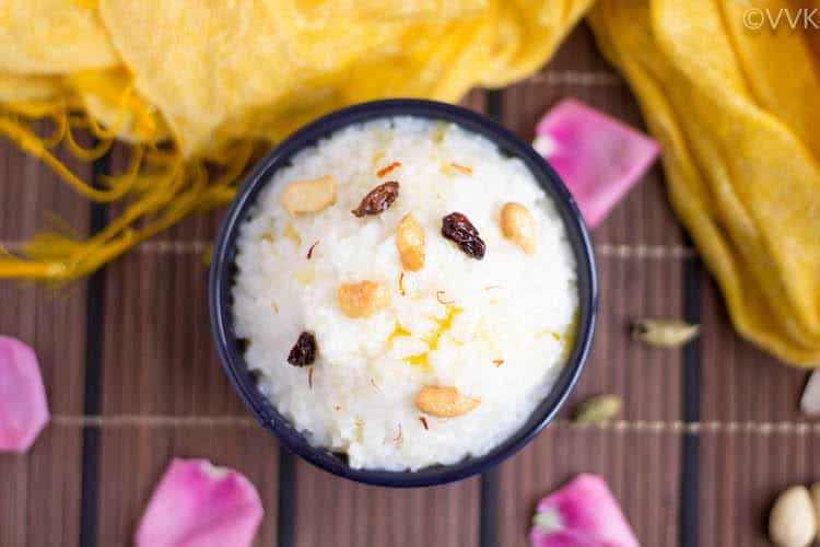 Instant Pot Kalkandu Sadam or Kalkandu Pongal served with flower petals around