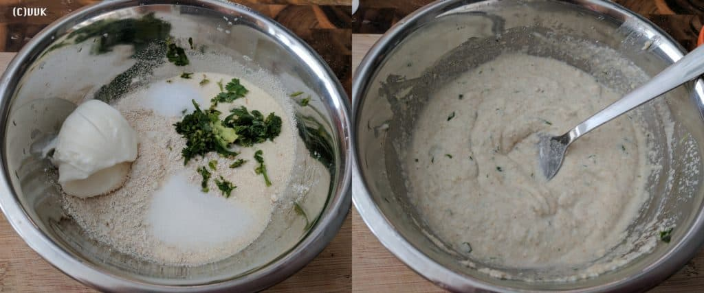 In a wide mixing bowl, add the rava, powdered oats, baking soda, hing, salt, salt, sugar and ginger chili paste, chopped cilantro and yogurt