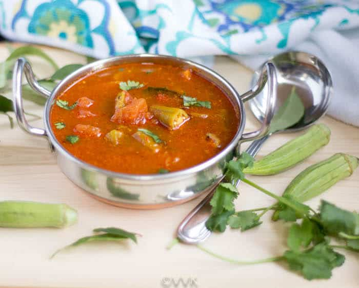 Delicious Bendakaya Pulusu or Tangy and Spicy Okra Gravy served and ready