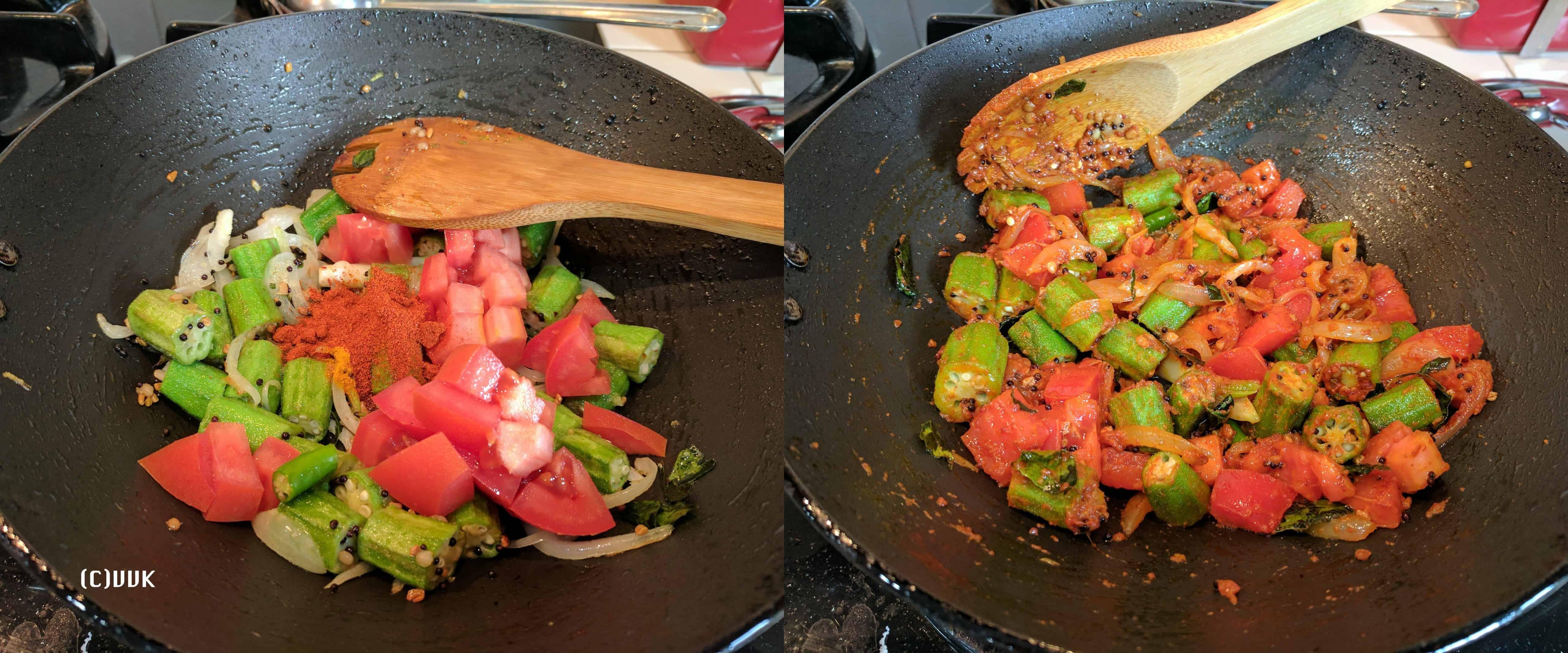 Adding the chopped tomato, salt, and red chili powder