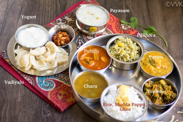 Andhra Telangana Thali Spread with each dish named