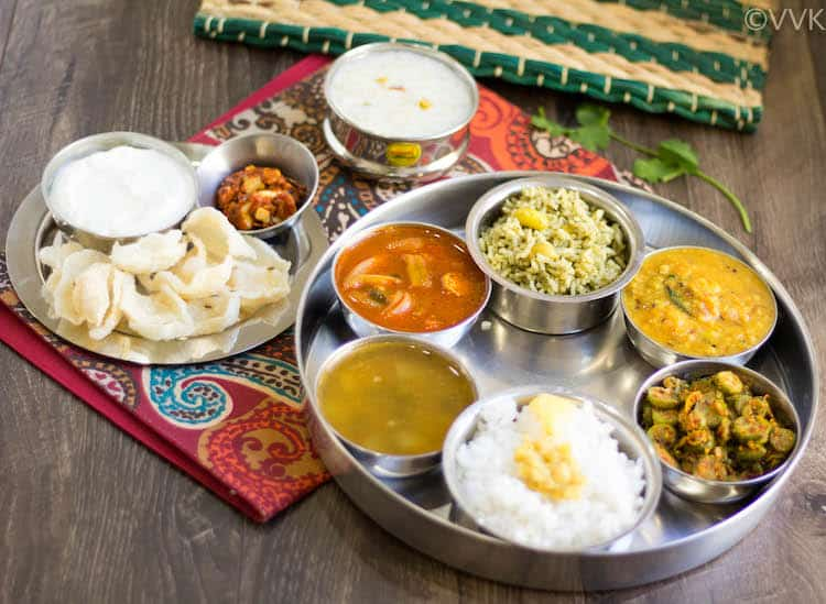 Andhra Telangana Thali Spread with delicious sides served