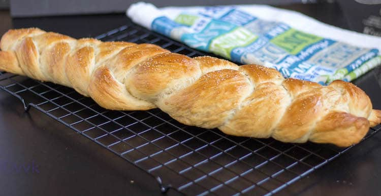 Braided Eggless Challah Bread looking delicious and inviting - straight out of the oven