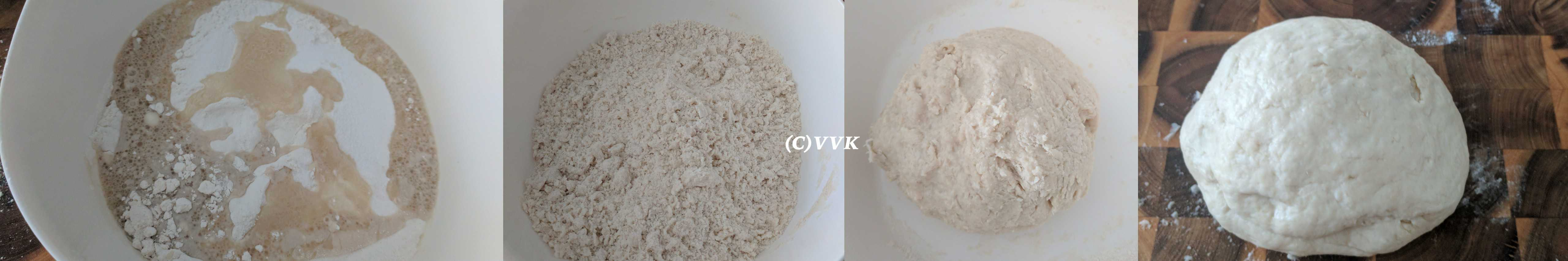 Sieve the flour, sugar, salt in a wide mixing bowl
