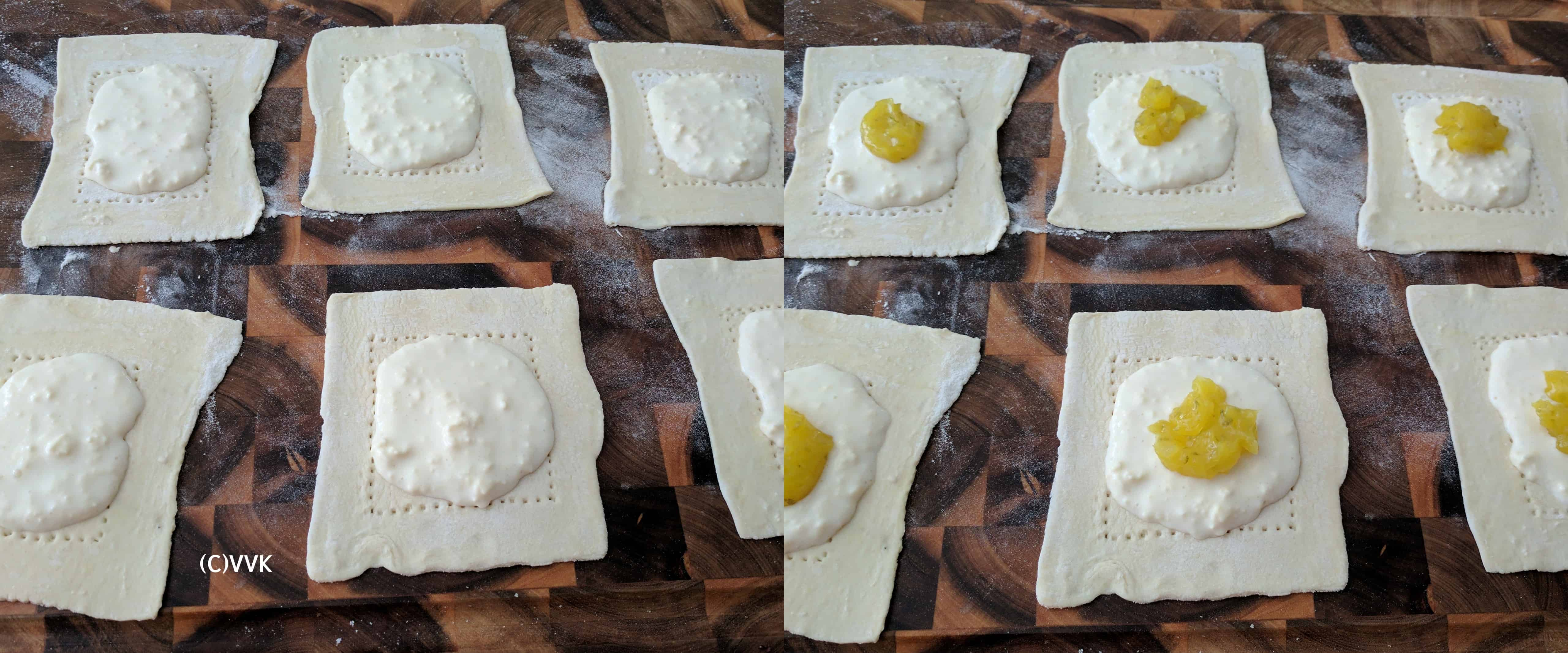 Filling the center of the dough with cheese mix and then spreading the lemon curd
