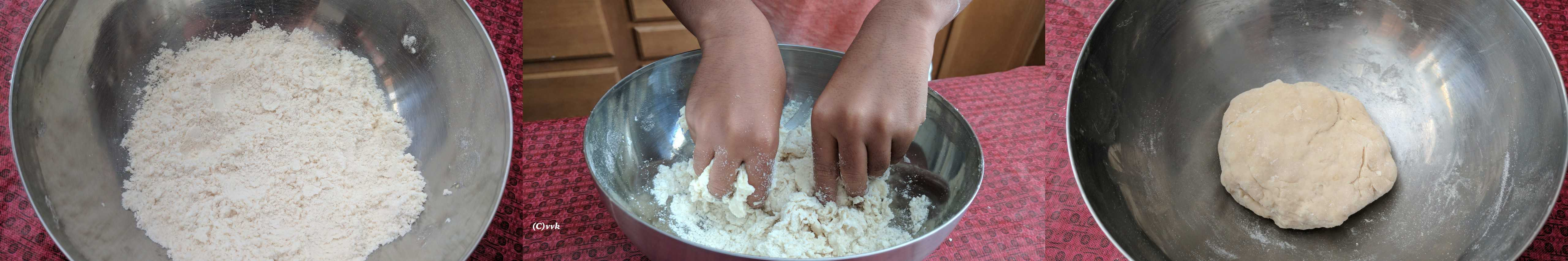 Adding the all-purpose flour, a pinch of salt and the ghee to a wide bowl and making the right shape