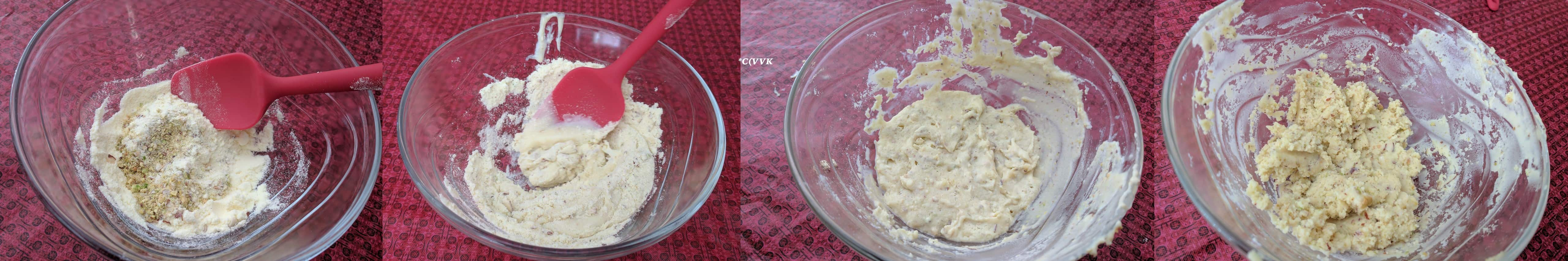 Adding the milk powder, crushed pistachios/almonds, cardamom powder and condensed milk to a microwave safe bowl and mixing
