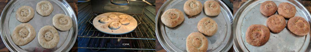 Baking obi non in an oven and letting it rest on a metal tray after