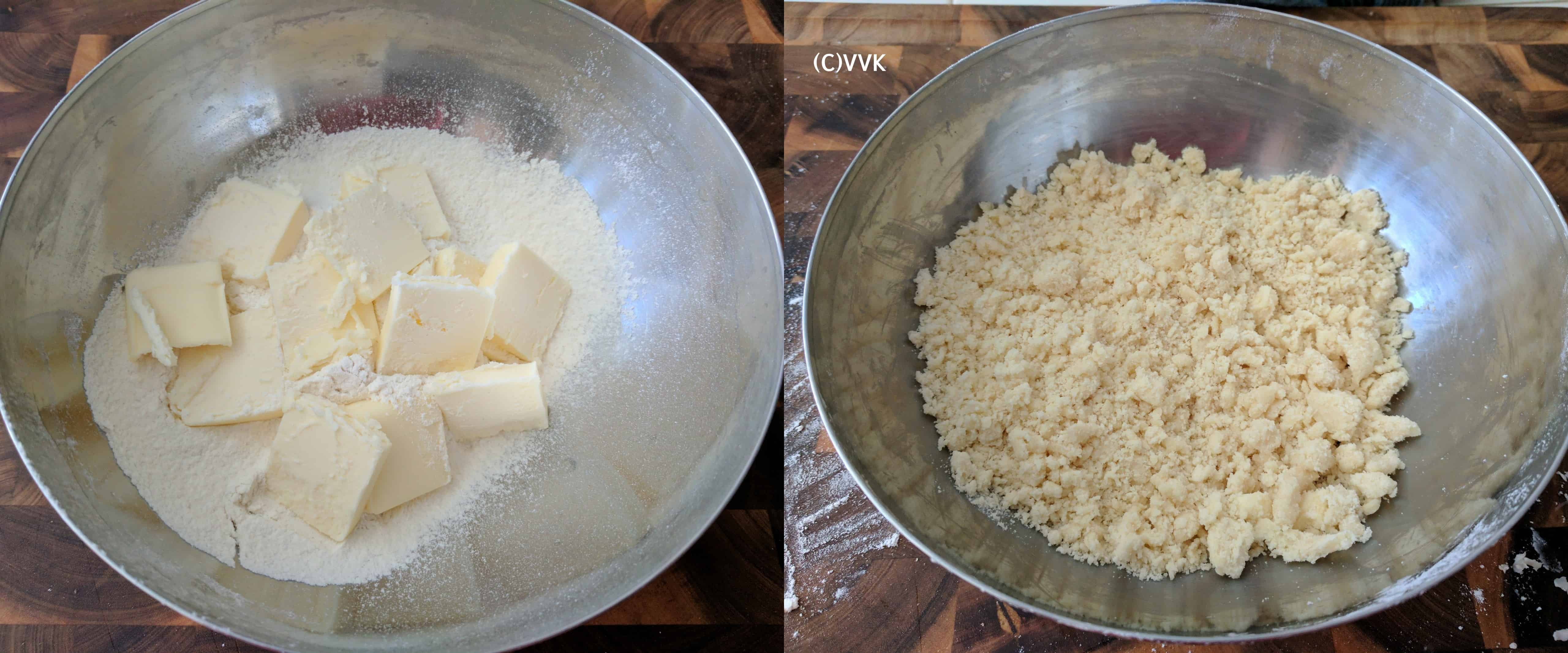 Addin flour, cubed butter, and the salt into a mixing bowl