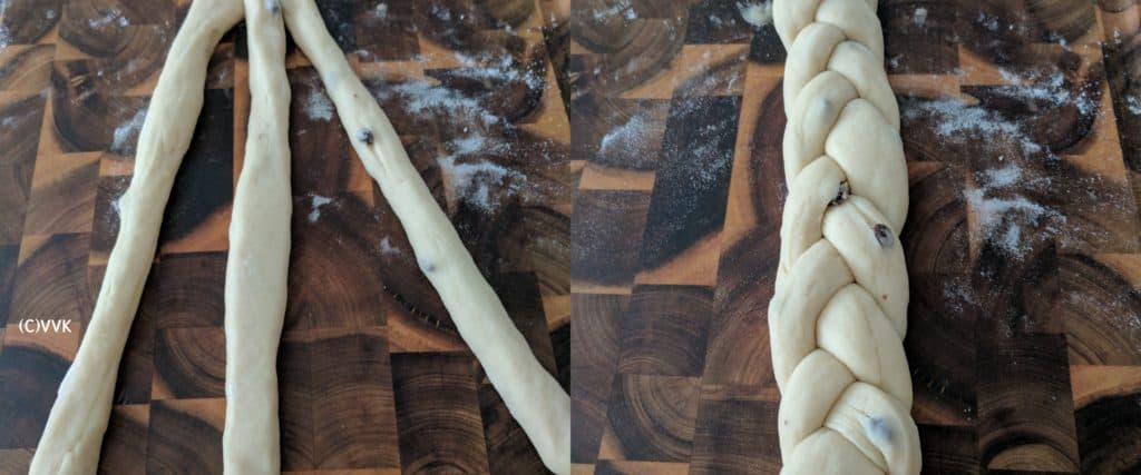 The comparision showing the strands before braiding and after