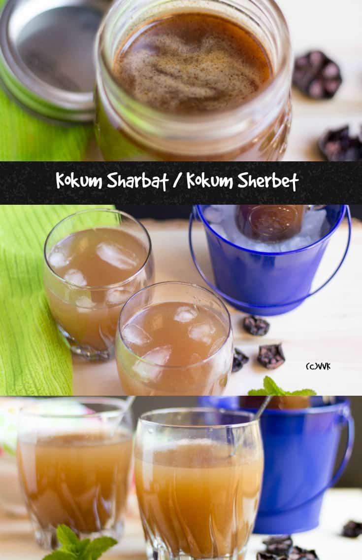 Dried Kokum Sharbat or Kokum Sherbat collage with text overlay