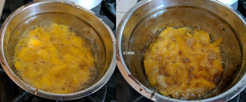 Cooking until the mango is soft and until the water reduces to half