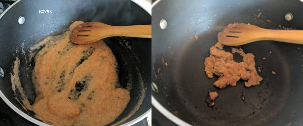 Frying ground onion paste until the oil separates