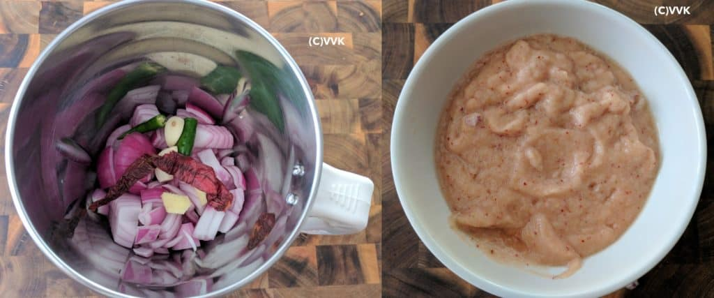 Preparing the onion paste with onions, chili and garlic