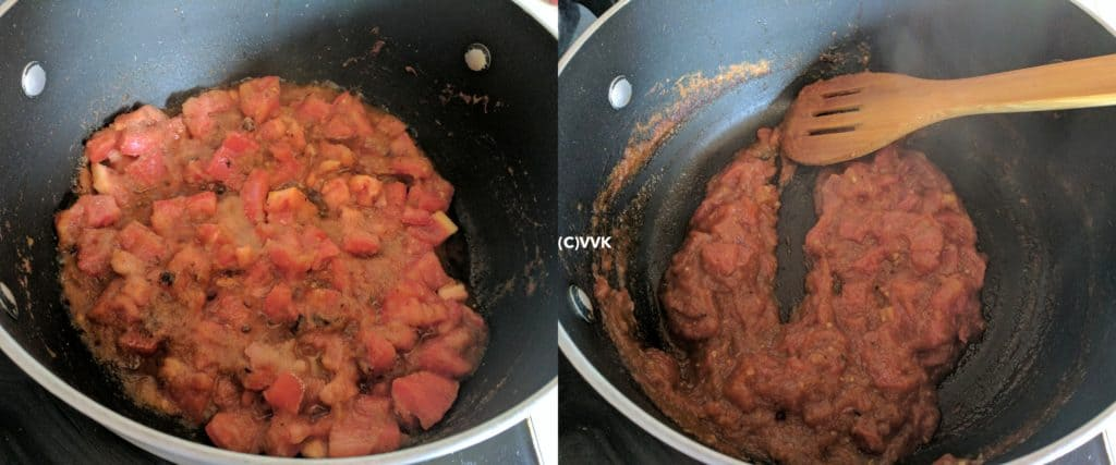 Cooking tomatoes until they become soft and mushy