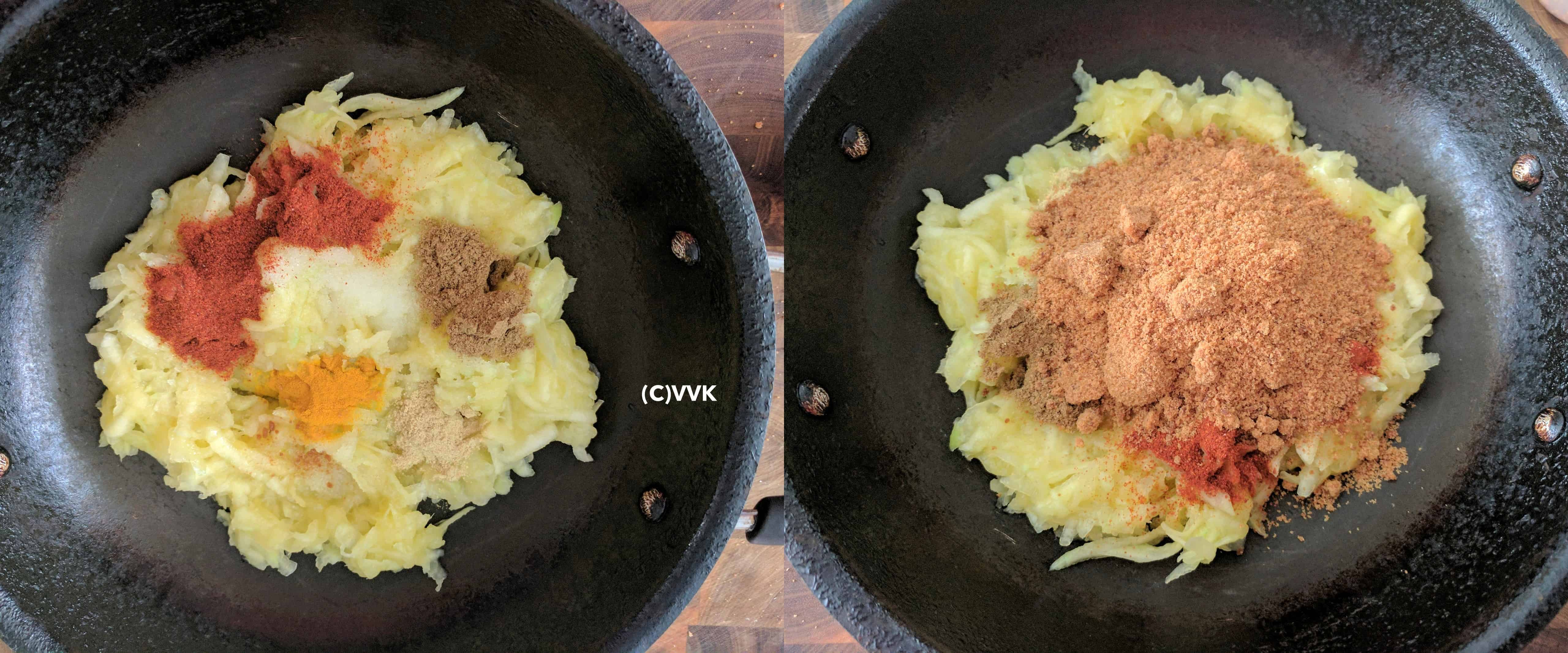 Adding grated mango, spices and jaggery to a pan