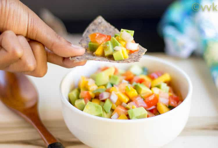 Mango Avocado Salsa - Dipping with a Chip and Ready to Try