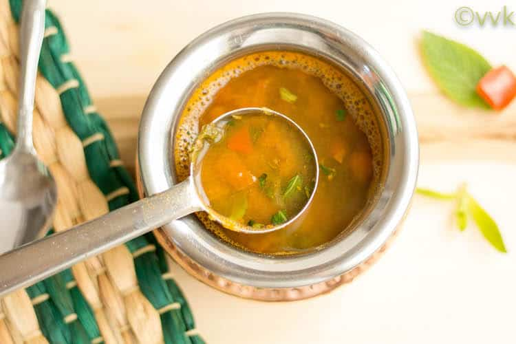 Instant Pot Mint Rasam with Masoor Dal overhead shot of the served meal