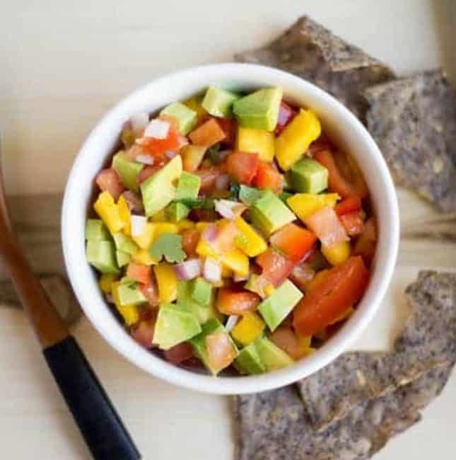 Mango Avocado Salsa Overhead Square Shot of the Dish