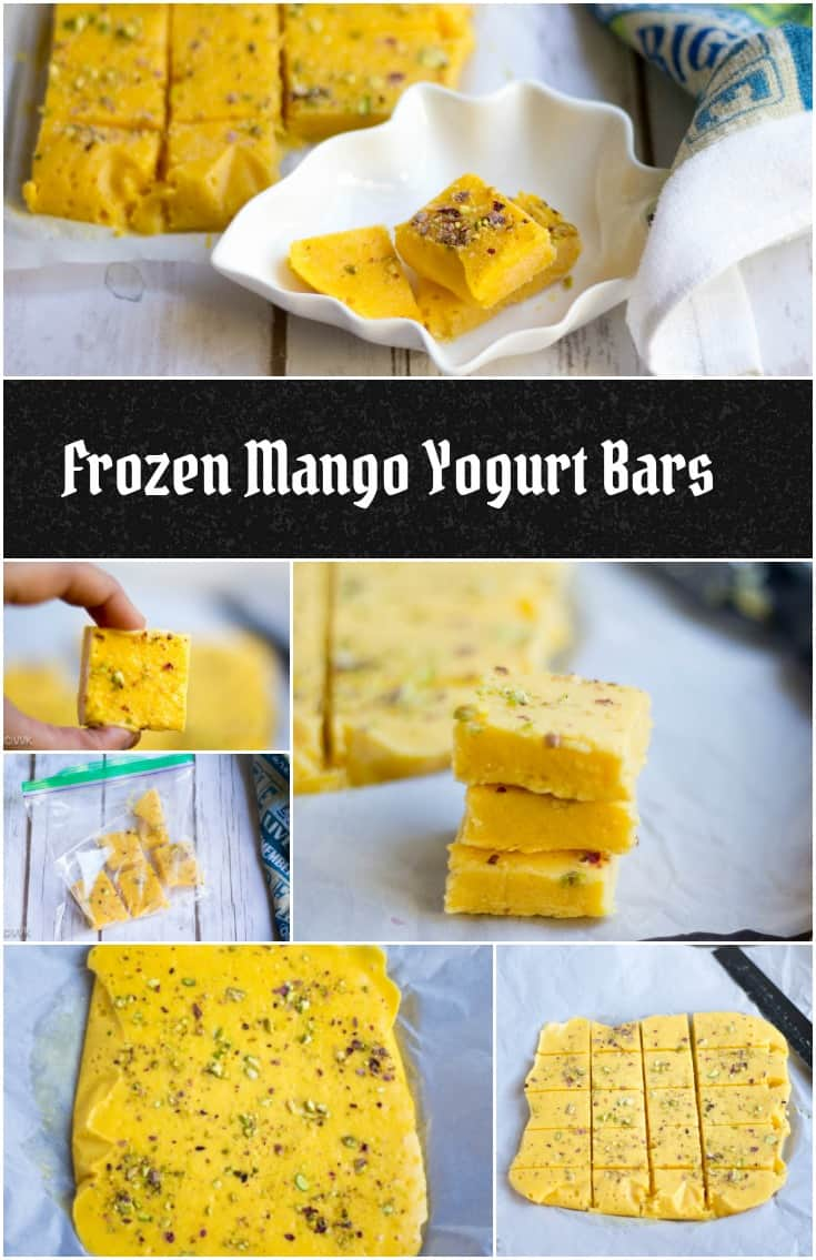 Frozen Mango Yogurt Bars Vertical Collage with Text Overlay