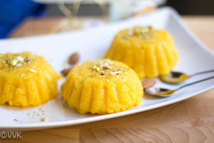 Closeup on the delicious dessert Vegan Mango Kesari or Sheera