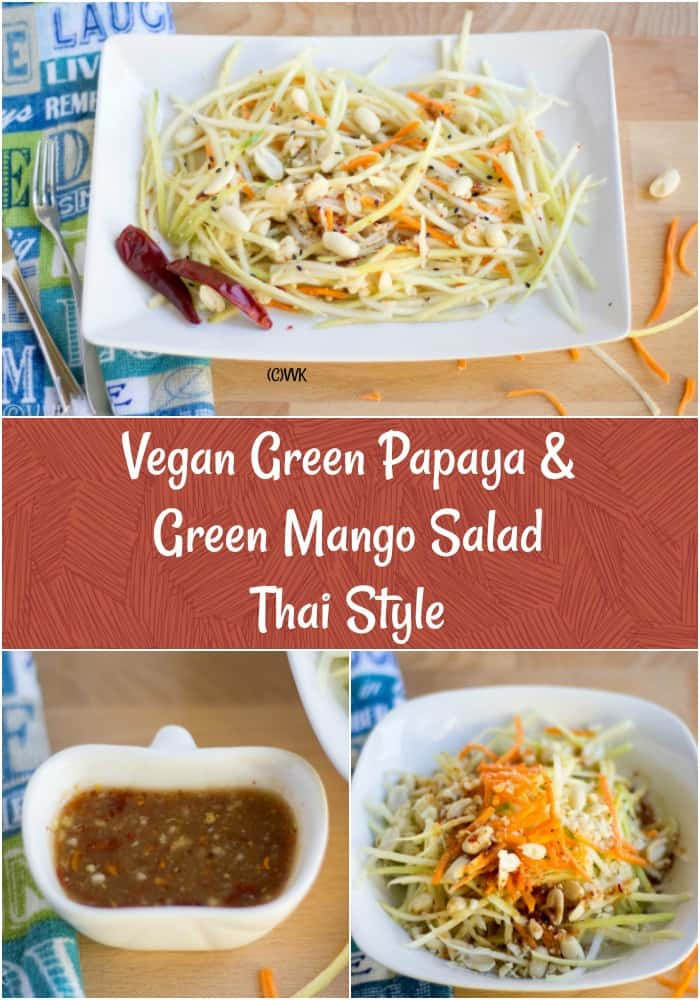 Vegan Green Papaya & Green Mango Salad Thai Style Collage with Text Overlay