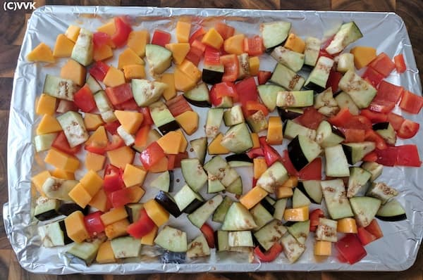 Mix and add the chopped butternut squash, red bell peppers and eggplant
