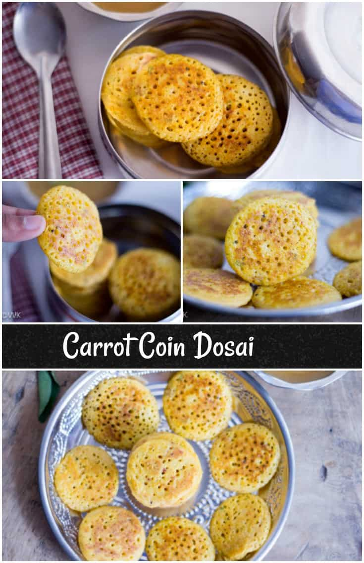 Carrot Coin Dosai collage with text overlay