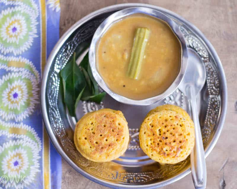 Serving Carrot Coin Dosai hot and with chutney