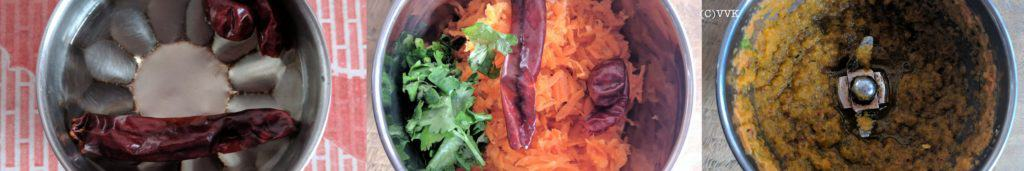 Grind together the carrot, soaked red chili with water and cilantro