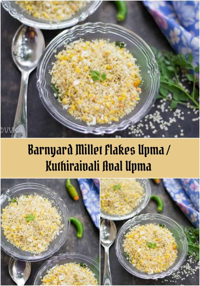 Barnyard Millet Flakes Upma or Kuthiraivali Aval Upma collage with text overlay