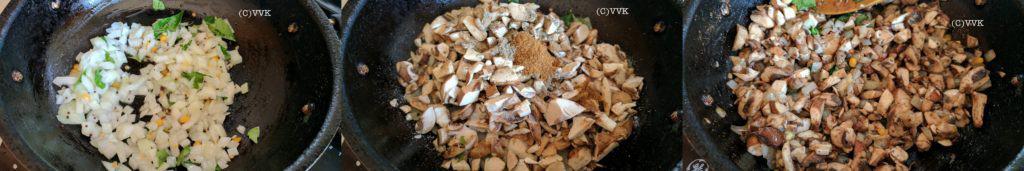 Heating the kadai and adding oil