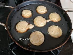 Flipping the batter and continuing to cook
