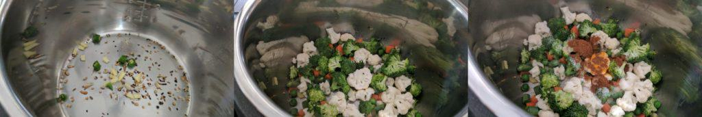 Adding the chopped vegetables, turmeric powder, garam masala, sugar and salt