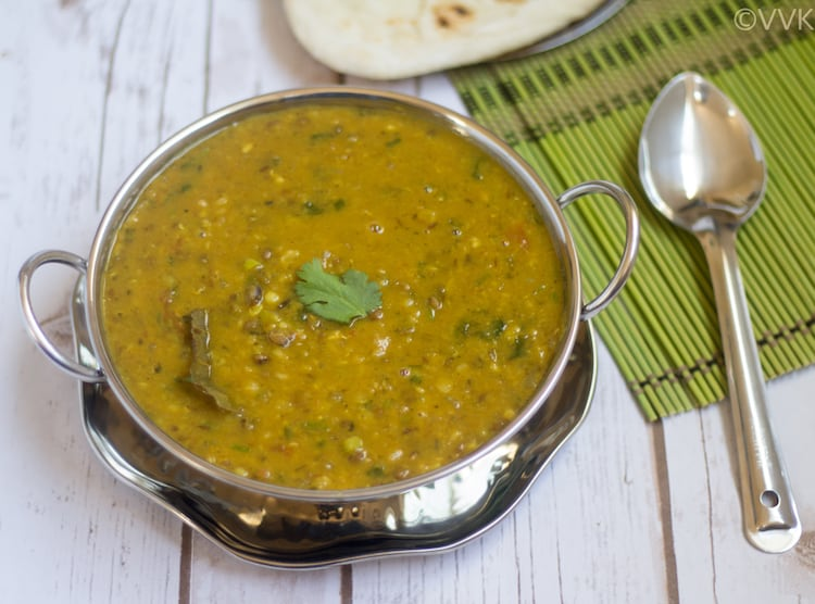 Instant Pot Punjabi Dhaba Style Dal Fry served with a spoon on the table