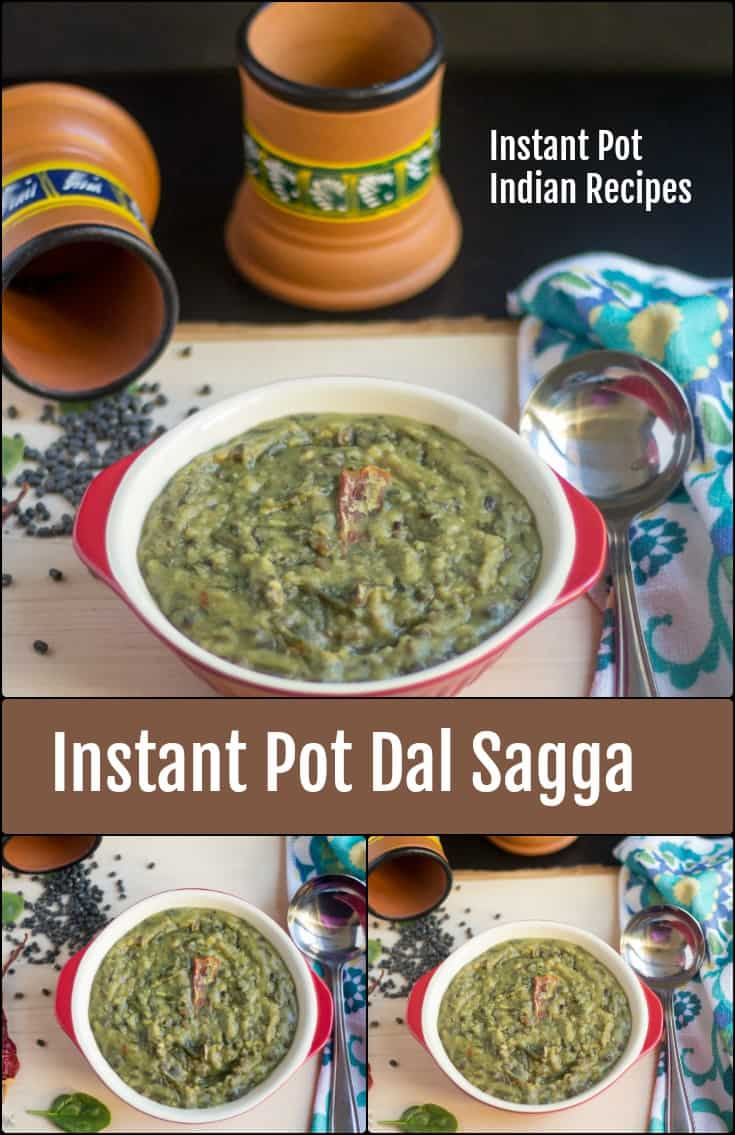 Instant Pot Dal Sagga collage with text overlay