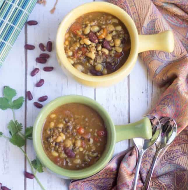 Instant Pot Kwati - Mixed Bean Stew in Two Yellow and Green Bowls