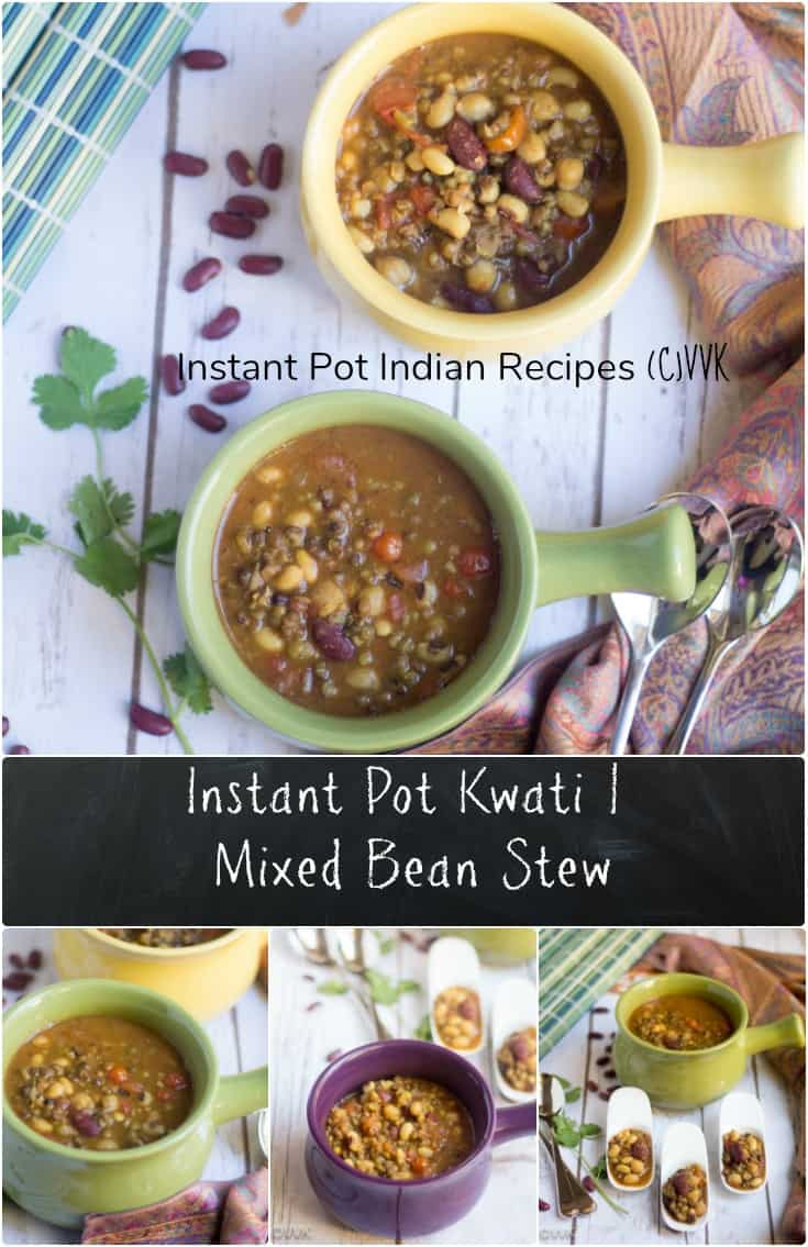 Instant Pot Kwati - Mixed Bean Stew Vertical Collage with Text Overlay