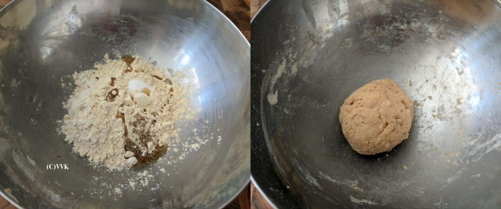 Combining the wheat flour, besan and other ingredients