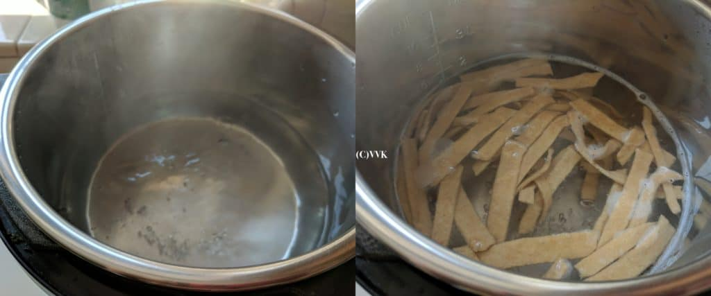 Dropping dhokli strips into the boiling water