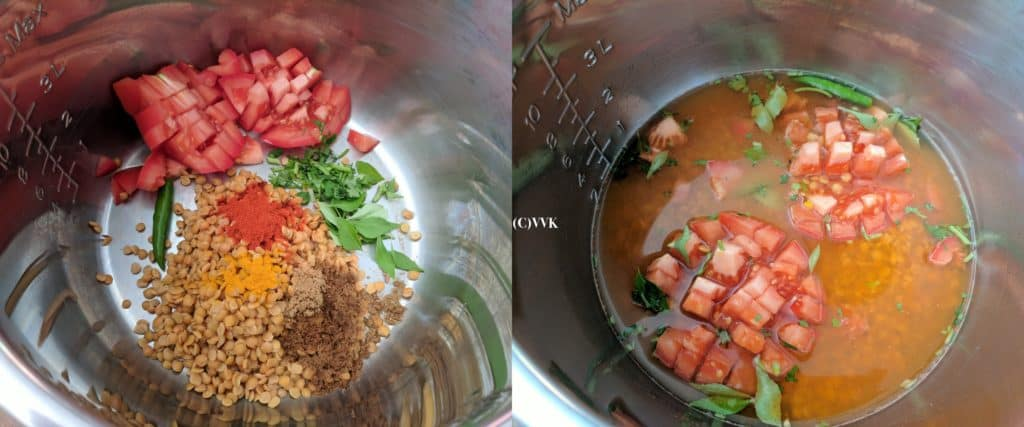 Adding the washed toor dal, chopped tomato, slit green chili and other ingredients