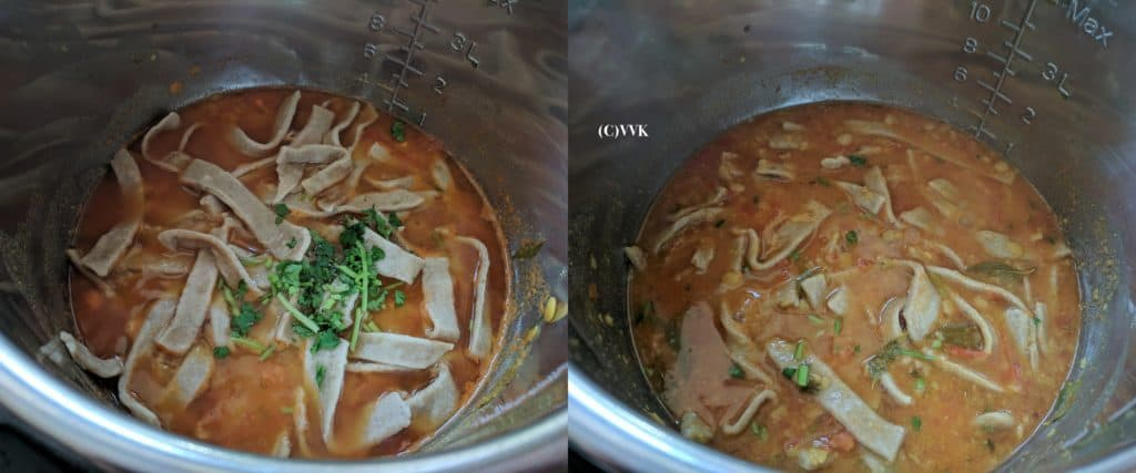 Adding the cooked dhokli and 1 tbsp of chopped cilantro